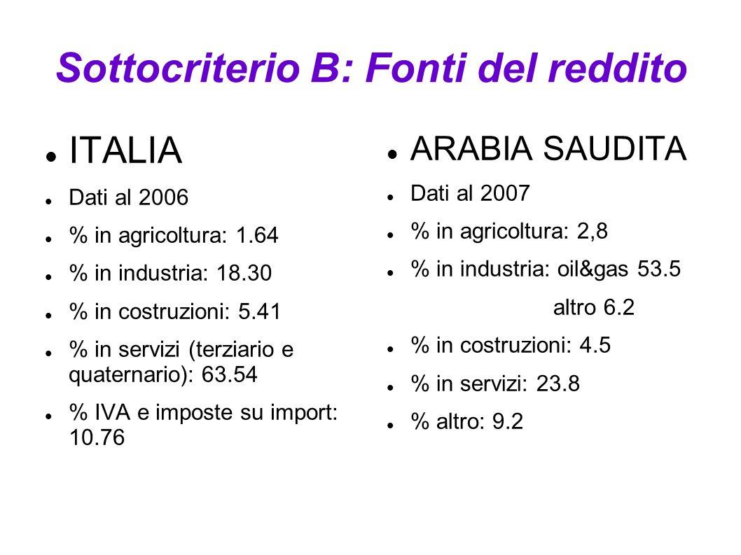 Sottocriterio B: Fonti del reddito ITALIA Dati al 2006 % in agricoltura: 1.64 % in industria: 18.30 % in costruzioni: 5.41 % in servizi (terziario e q