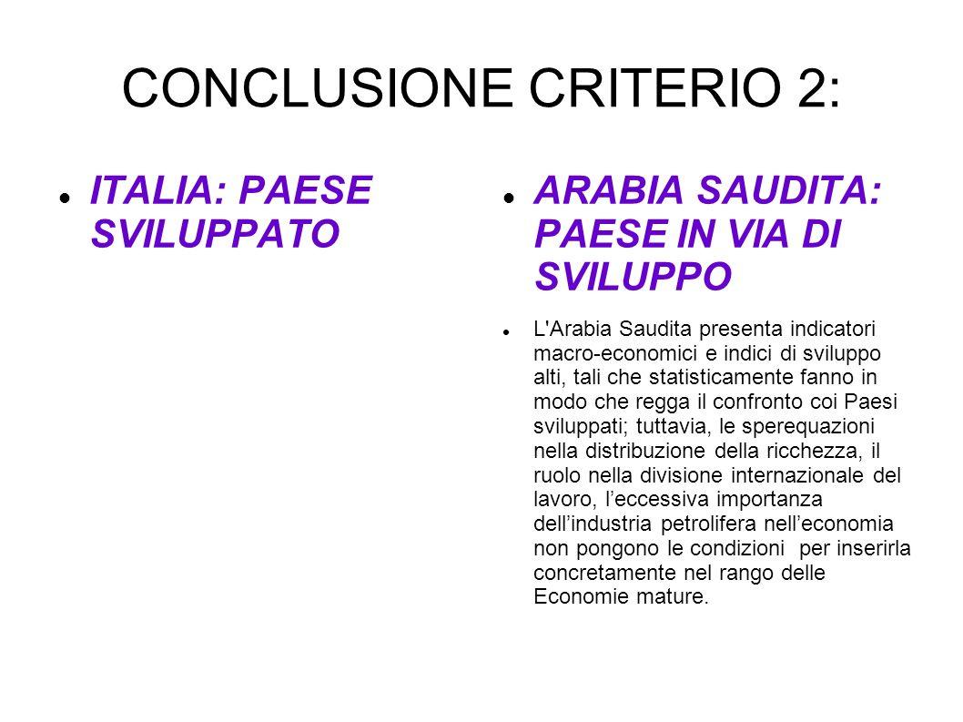CONCLUSIONE CRITERIO 2: ITALIA: PAESE SVILUPPATO ARABIA SAUDITA: PAESE IN VIA DI SVILUPPO L'Arabia Saudita presenta indicatori macro-economici e indic