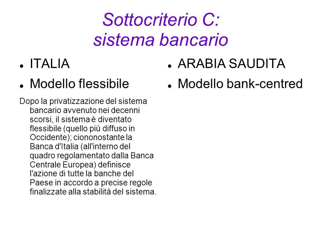 Sottocriterio C: sistema bancario ITALIA Modello flessibile Dopo la privatizzazione del sistema bancario avvenuto nei decenni scorsi, il sistema è div