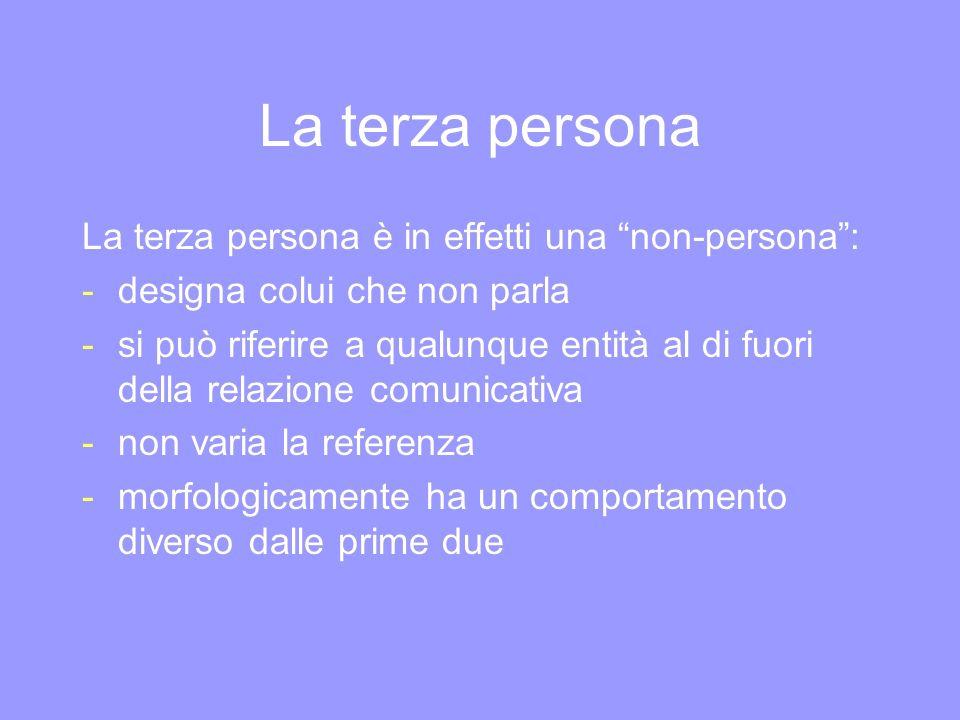 La terza persona La terza persona è in effetti una non-persona: -designa colui che non parla -si può riferire a qualunque entità al di fuori della rel