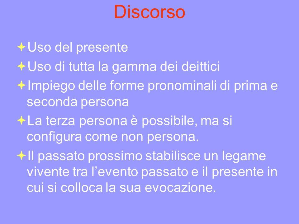 Discorso Uso del presente Uso di tutta la gamma dei deittici Impiego delle forme pronominali di prima e seconda persona La terza persona è possibile,