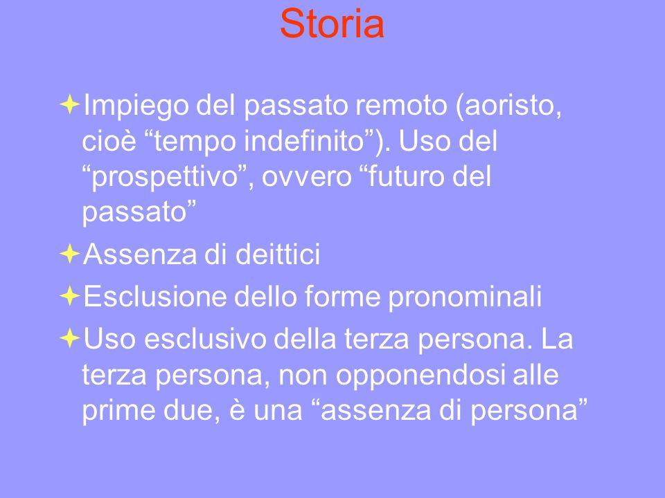 Storia Impiego del passato remoto (aoristo, cioè tempo indefinito). Uso del prospettivo, ovvero futuro del passato Assenza di deittici Esclusione dell