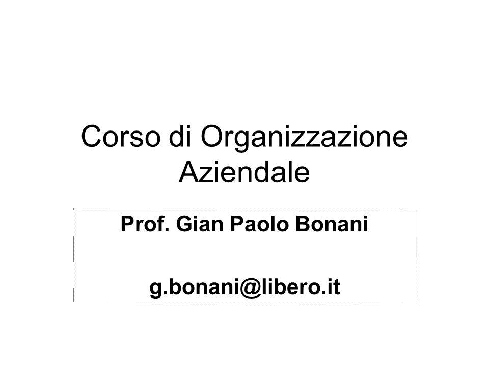 Corso di Organizzazione Aziendale Prof. Gian Paolo Bonani g.bonani@libero.it