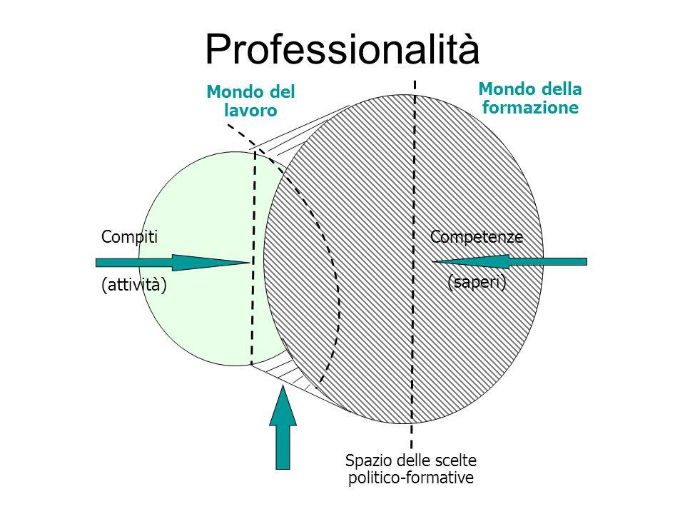 Professionalità Competenze (saperi) Spazio delle scelte politico-formative Compiti (attività) Mondo della formazione Mondo del lavoro