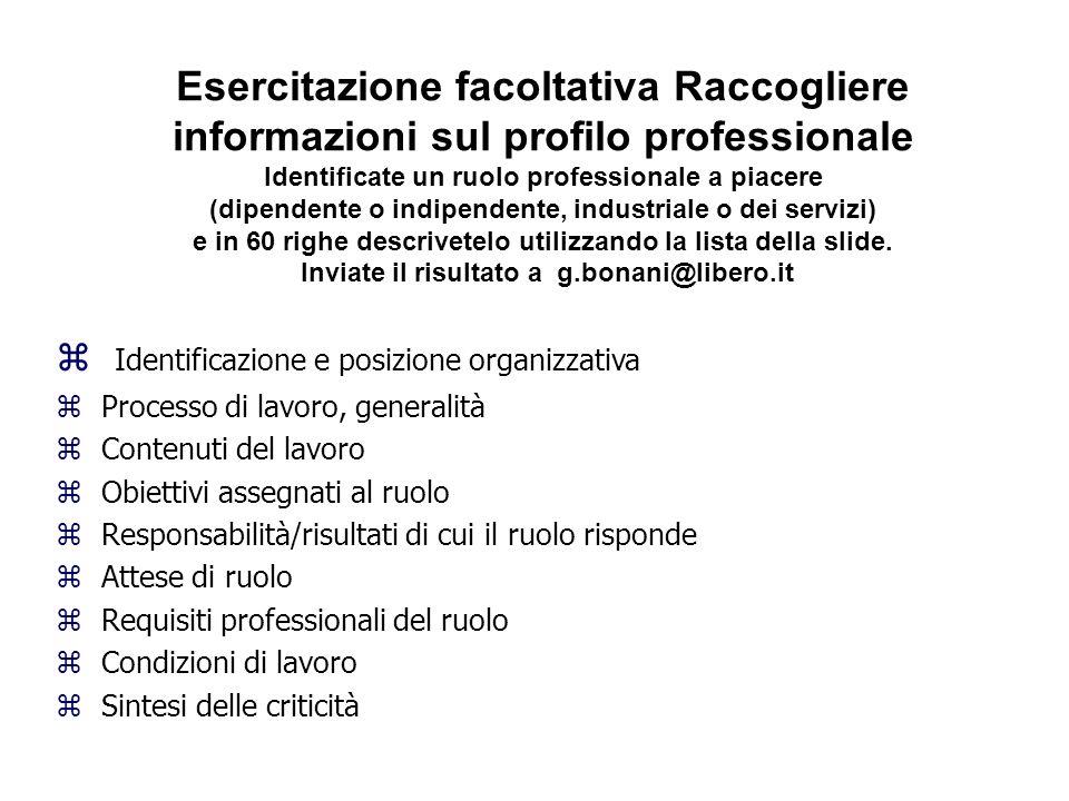 Esercitazione facoltativa Raccogliere informazioni sul profilo professionale Identificate un ruolo professionale a piacere (dipendente o indipendente,