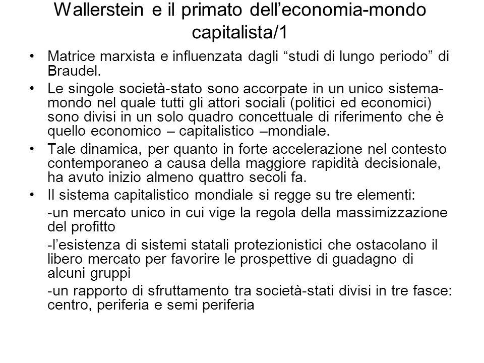 Wallerstein e il primato delleconomia-mondo capitalista/1 Matrice marxista e influenzata dagli studi di lungo periodo di Braudel. Le singole società-s