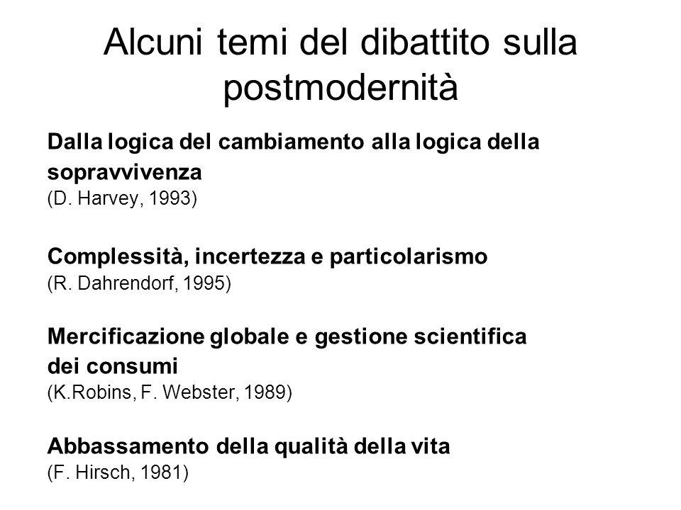 Alcuni temi del dibattito sulla postmodernità Dalla logica del cambiamento alla logica della sopravvivenza (D. Harvey, 1993) Complessità, incertezza e