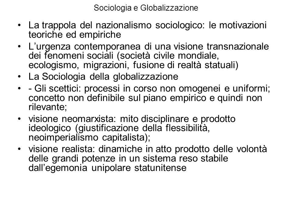 Sociologia e Globalizzazione La trappola del nazionalismo sociologico: le motivazioni teoriche ed empiriche Lurgenza contemporanea di una visione tran