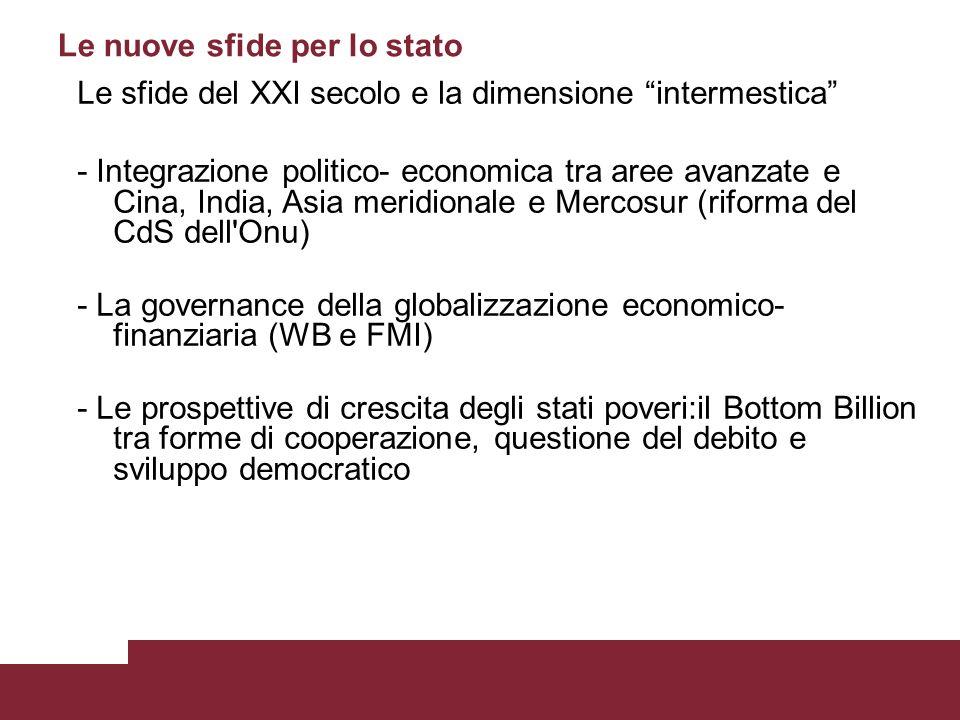 Le nuove sfide per lo stato Le sfide del XXI secolo e la dimensione intermestica - Integrazione politico- economica tra aree avanzate e Cina, India, Asia meridionale e Mercosur (riforma del CdS dell Onu) - La governance della globalizzazione economico- finanziaria (WB e FMI) - Le prospettive di crescita degli stati poveri:il Bottom Billion tra forme di cooperazione, questione del debito e sviluppo democratico