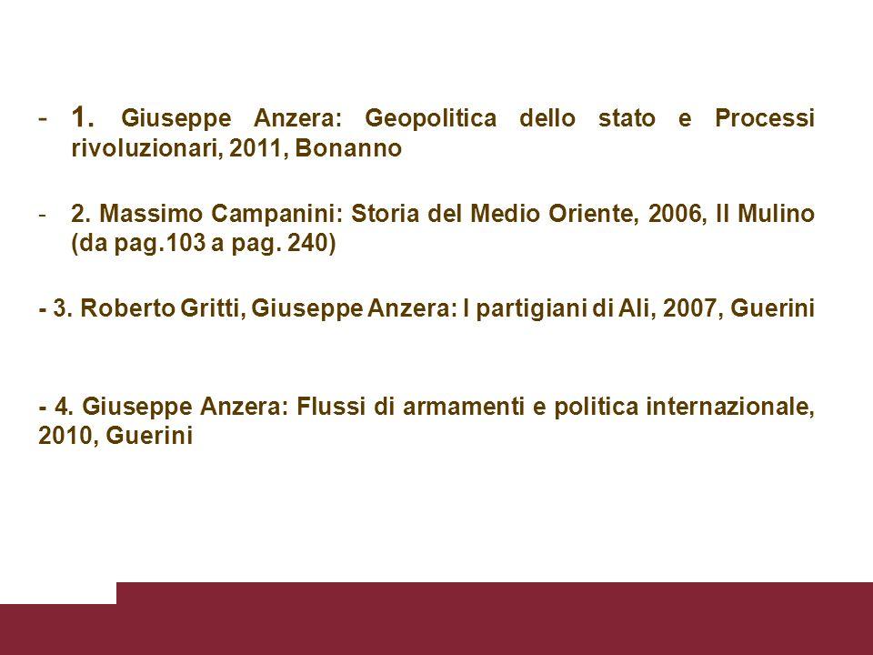 -1. Giuseppe Anzera: Geopolitica dello stato e Processi rivoluzionari, 2011, Bonanno -2.