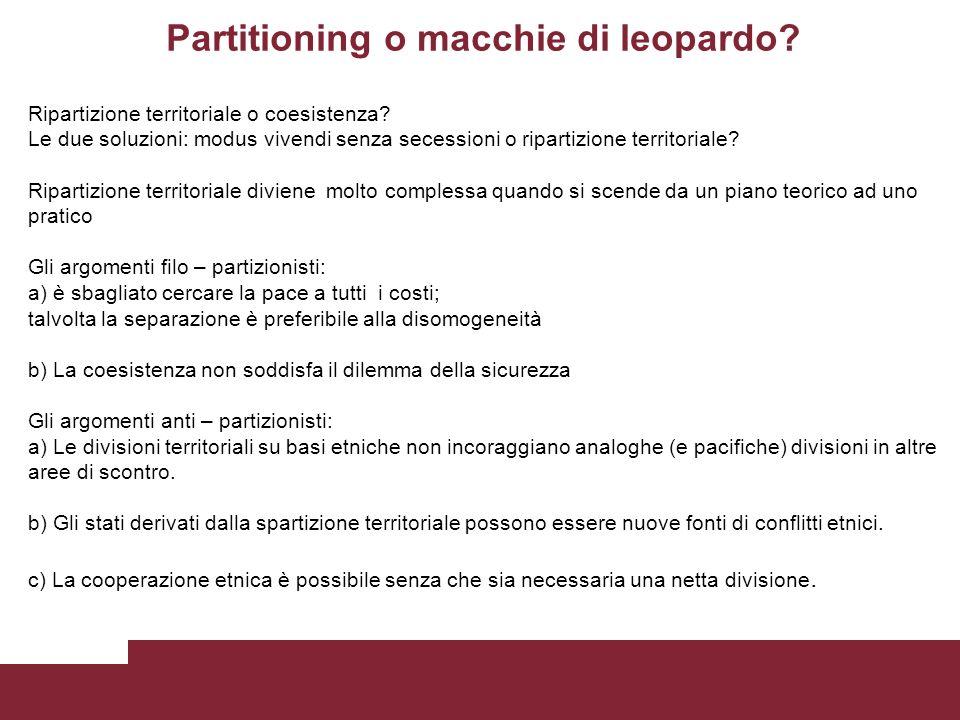Partitioning o macchie di leopardo. Ripartizione territoriale o coesistenza.