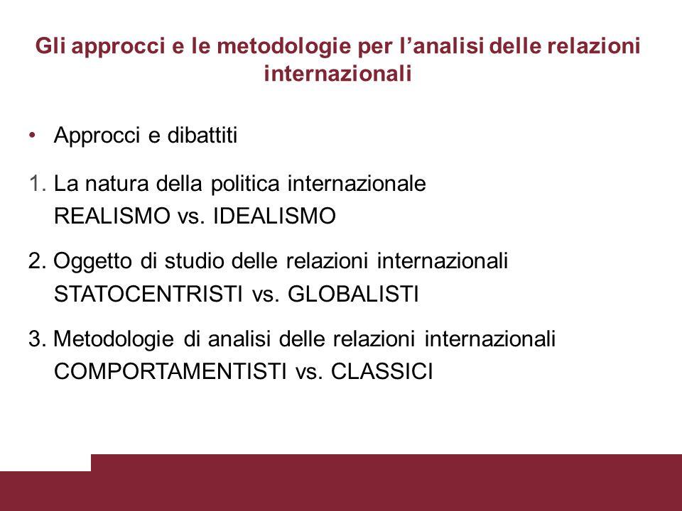 Gli approcci e le metodologie per lanalisi delle relazioni internazionali Approcci e dibattiti 1.La natura della politica internazionale REALISMO vs.