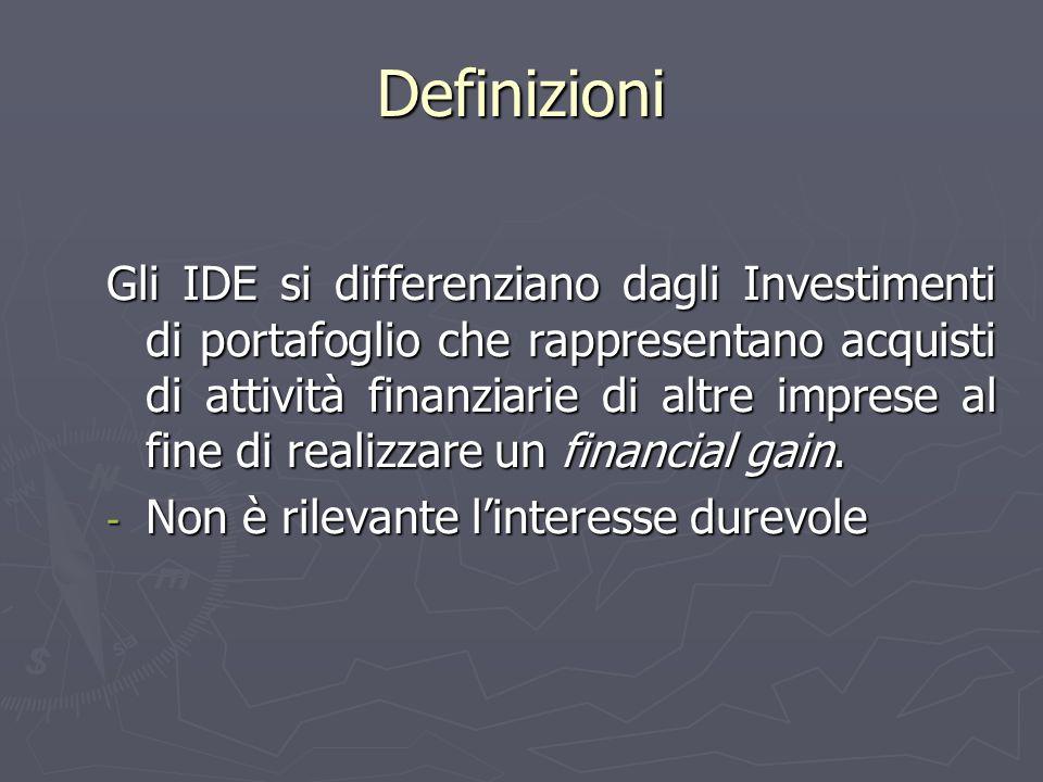 Definizioni Gli IDE si differenziano dagli Investimenti di portafoglio che rappresentano acquisti di attività finanziarie di altre imprese al fine di realizzare un financial gain.