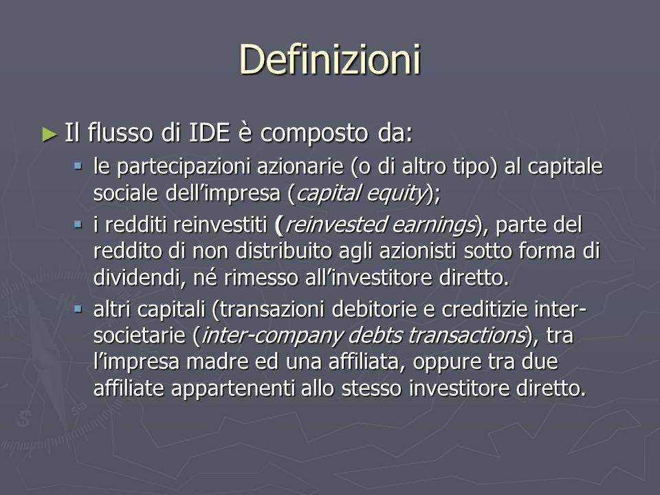 Definizioni Il flusso di IDE è composto da: Il flusso di IDE è composto da: le partecipazioni azionarie (o di altro tipo) al capitale sociale dellimpresa (capital equity); le partecipazioni azionarie (o di altro tipo) al capitale sociale dellimpresa (capital equity); i redditi reinvestiti (reinvested earnings), parte del reddito di non distribuito agli azionisti sotto forma di dividendi, né rimesso allinvestitore diretto.