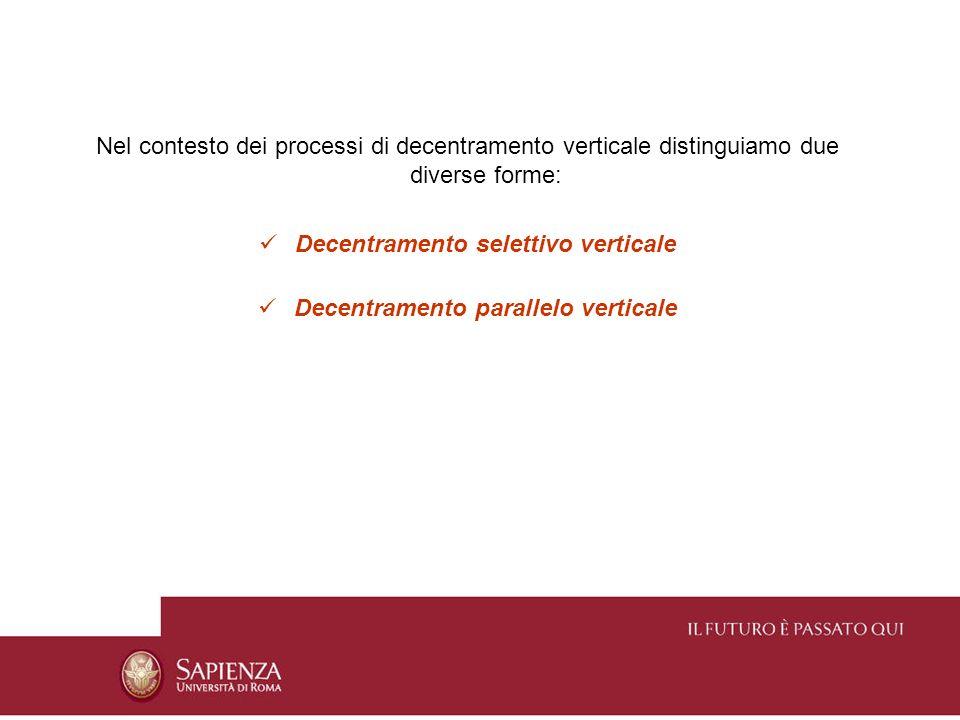 Nel contesto dei processi di decentramento verticale distinguiamo due diverse forme: Decentramento selettivo verticale Decentramento parallelo vertica