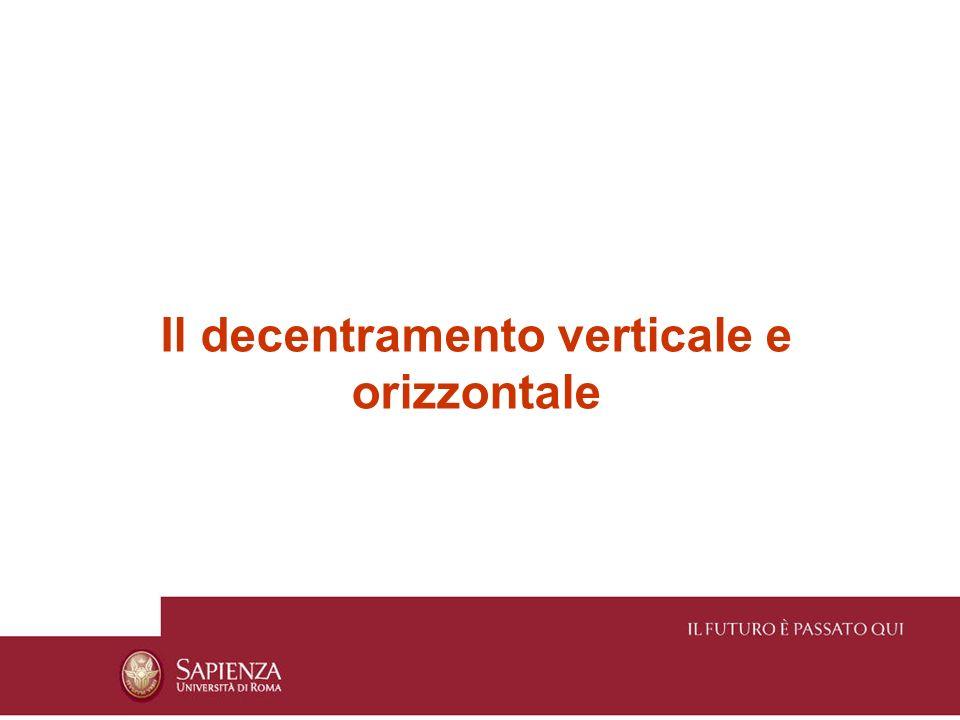 Nel contesto dei processi di decentramento verticale distinguiamo due diverse forme: Decentramento selettivo verticale Decentramento parallelo verticale