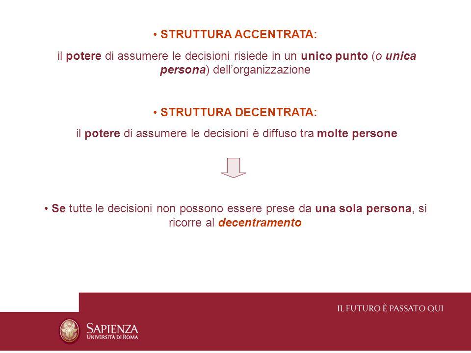 STRUTTURA ACCENTRATA: il potere di assumere le decisioni risiede in un unico punto (o unica persona) dellorganizzazione STRUTTURA DECENTRATA: il poter