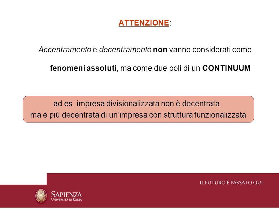 ATTENZIONE: Accentramento e decentramento non vanno considerati come fenomeni assoluti, ma come due poli di un CONTINUUM ad es. impresa divisionalizza