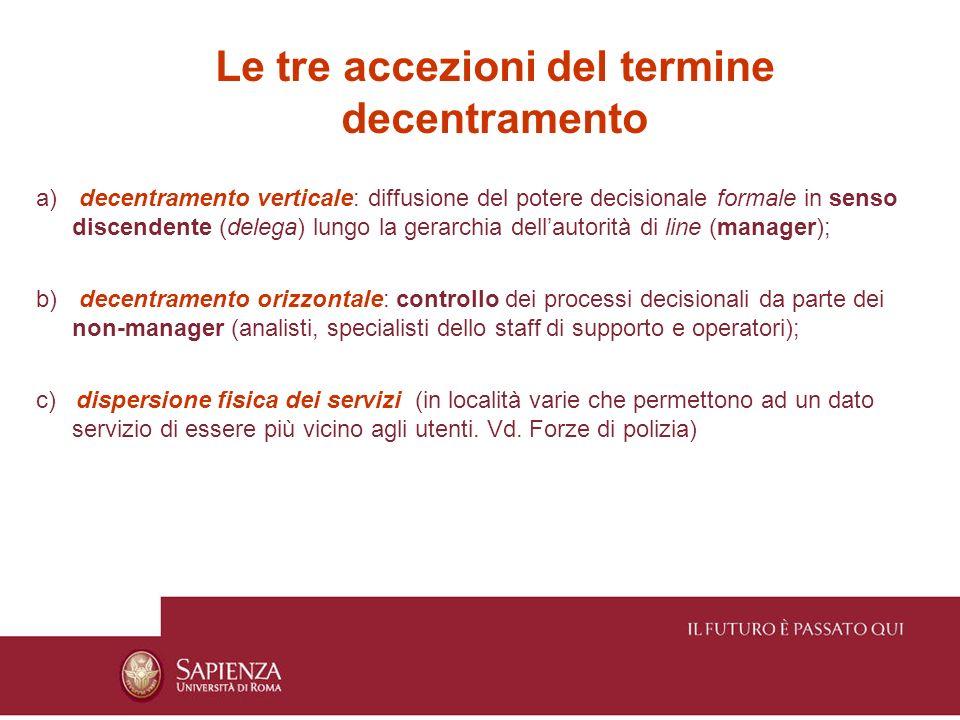 Le tre accezioni del termine decentramento a) decentramento verticale: diffusione del potere decisionale formale in senso discendente (delega) lungo l