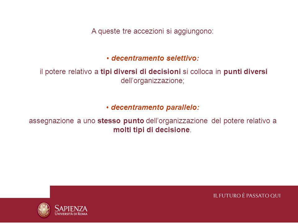 A queste tre accezioni si aggiungono: decentramento selettivo: il potere relativo a tipi diversi di decisioni si colloca in punti diversi dellorganizz