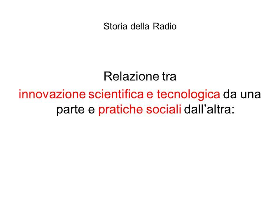 Storia della Radio Relazione tra innovazione scientifica e tecnologica da una parte e pratiche sociali dallaltra: