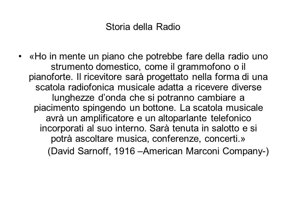 Storia della Radio «Ho in mente un piano che potrebbe fare della radio uno strumento domestico, come il grammofono o il pianoforte. Il ricevitore sarà