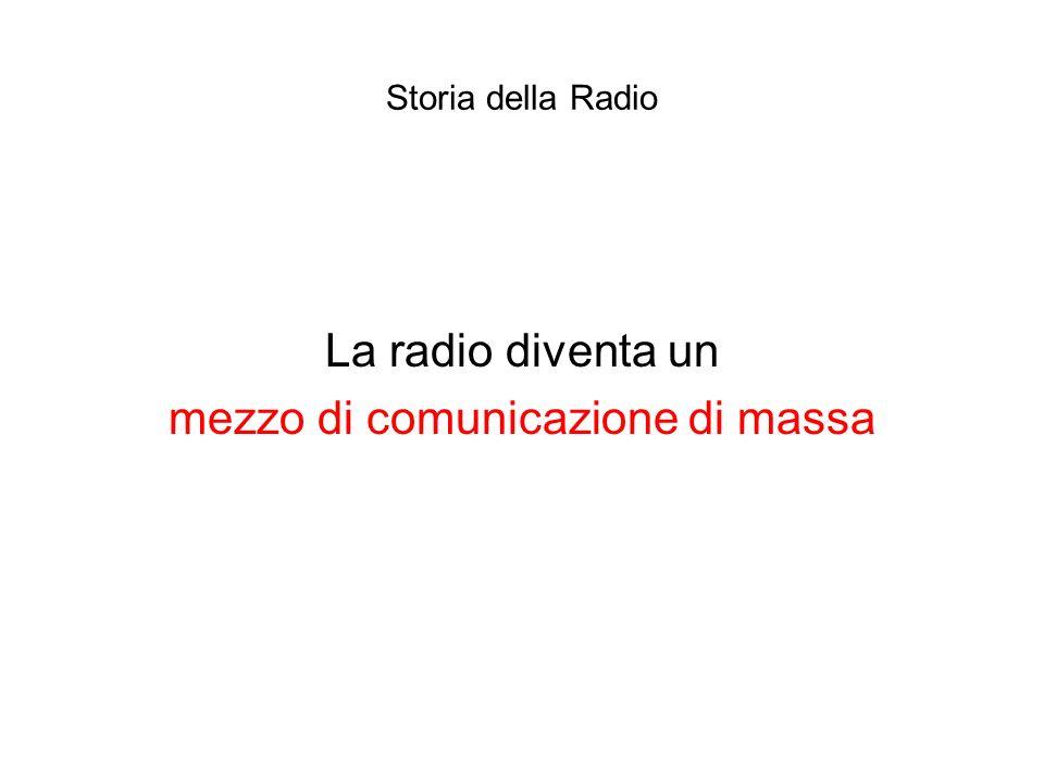 Storia della Radio La radio diventa un mezzo di comunicazione di massa