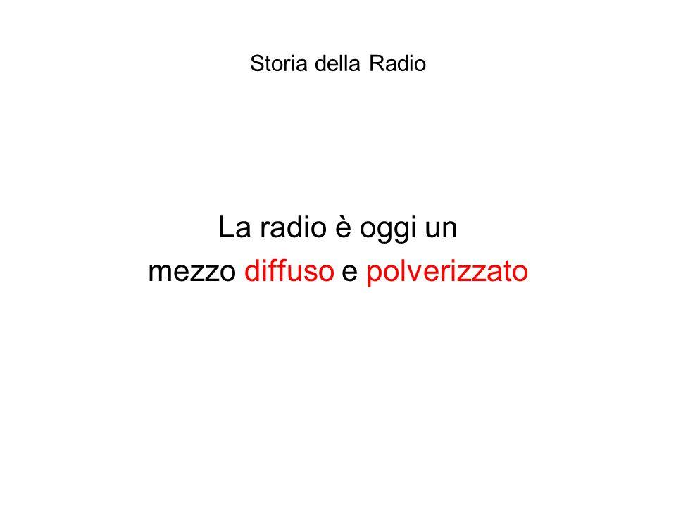 Storia della Radio La radio è oggi un mezzo diffuso e polverizzato