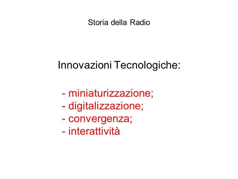Storia della Radio Innovazioni Tecnologiche: - miniaturizzazione; - digitalizzazione; - convergenza; - interattività