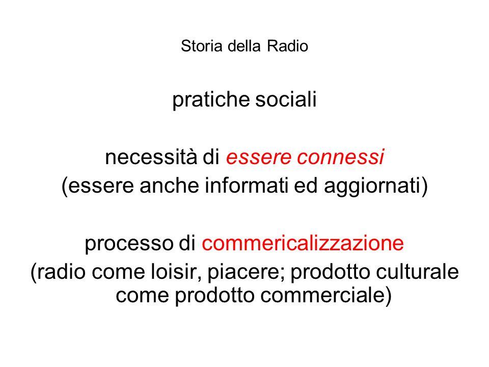 Storia della Radio pratiche sociali necessità di essere connessi (essere anche informati ed aggiornati) processo di commericalizzazione (radio come lo