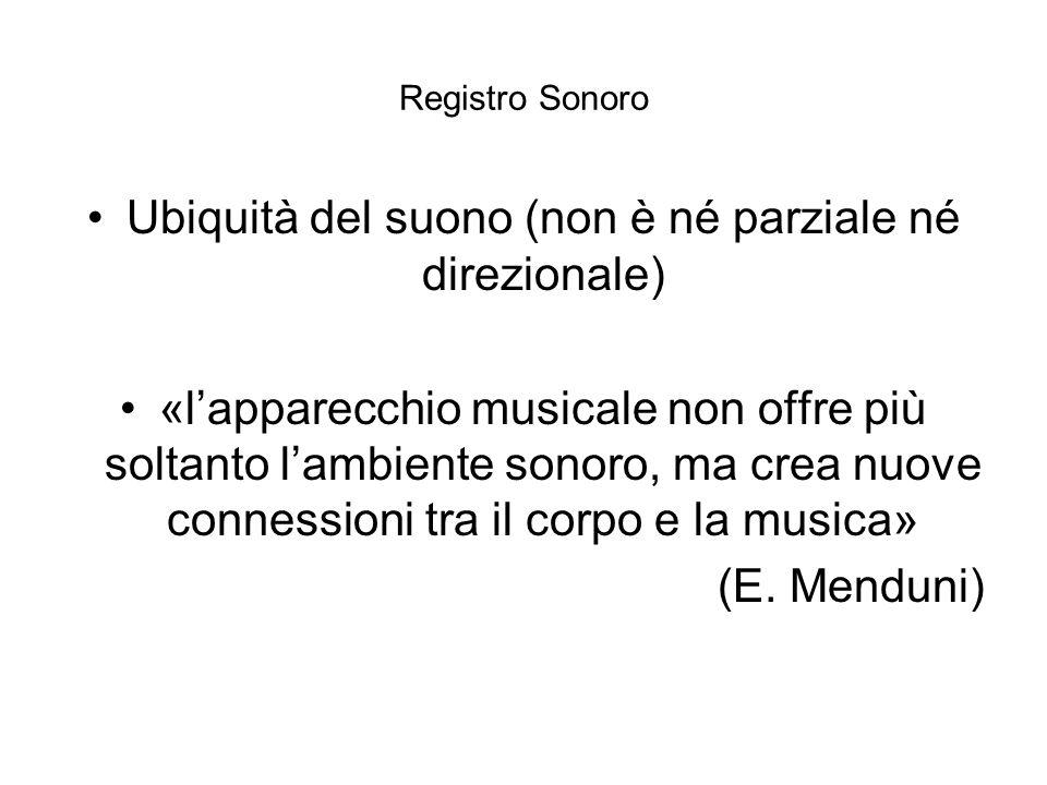 Registro Sonoro Ubiquità del suono (non è né parziale né direzionale) «lapparecchio musicale non offre più soltanto lambiente sonoro, ma crea nuove co