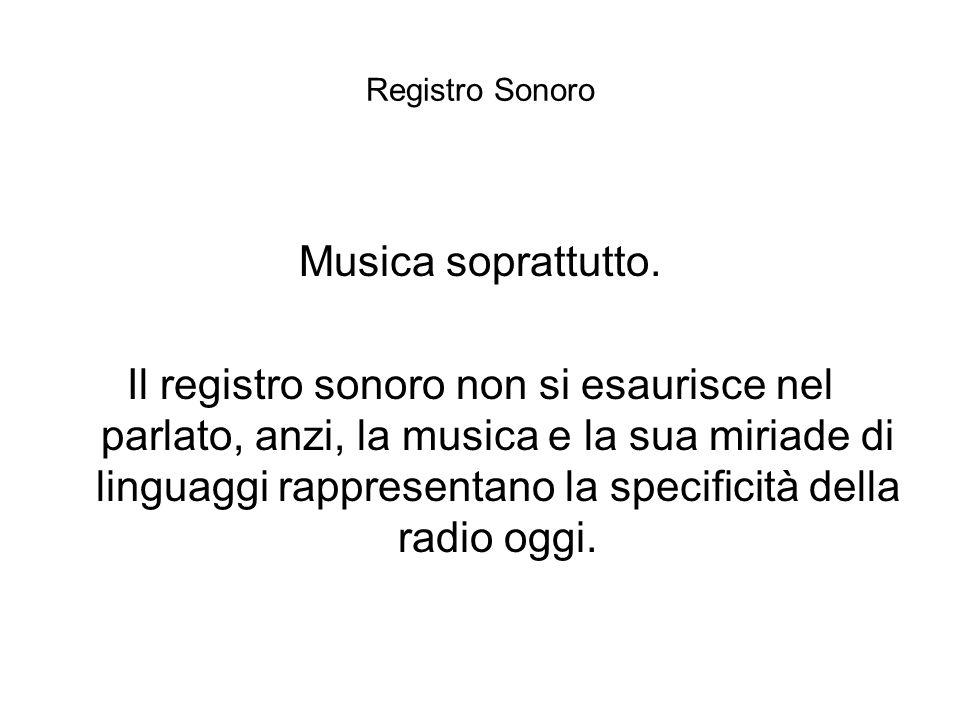 Registro Sonoro Musica soprattutto. Il registro sonoro non si esaurisce nel parlato, anzi, la musica e la sua miriade di linguaggi rappresentano la sp