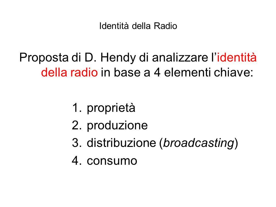Identità della Radio Proposta di D. Hendy di analizzare lidentità della radio in base a 4 elementi chiave: 1. proprietà 2. produzione 3. distribuzione