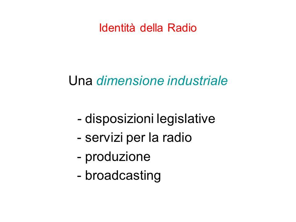 Identità della Radio Una dimensione industriale - disposizioni legislative - servizi per la radio - produzione - broadcasting