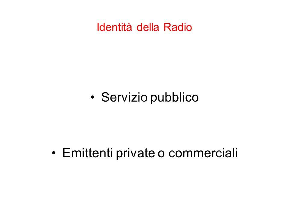Identità della Radio Servizio pubblico Emittenti private o commerciali