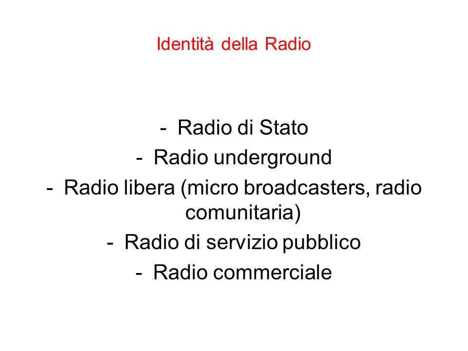 Identità della Radio -Radio di Stato -Radio underground -Radio libera (micro broadcasters, radio comunitaria) -Radio di servizio pubblico -Radio comme
