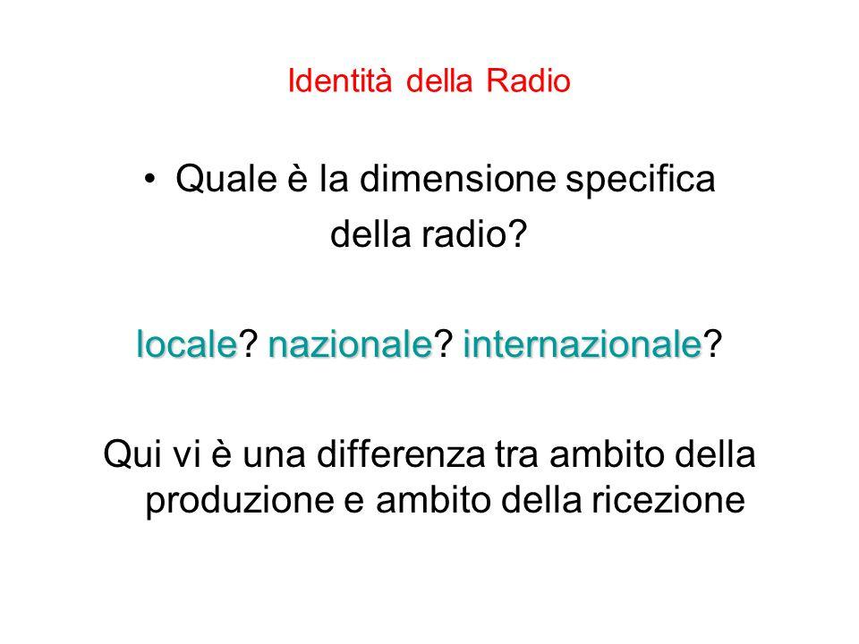 Identità della Radio Quale è la dimensione specifica della radio? localenazionaleinternazionale locale? nazionale? internazionale? Qui vi è una differ