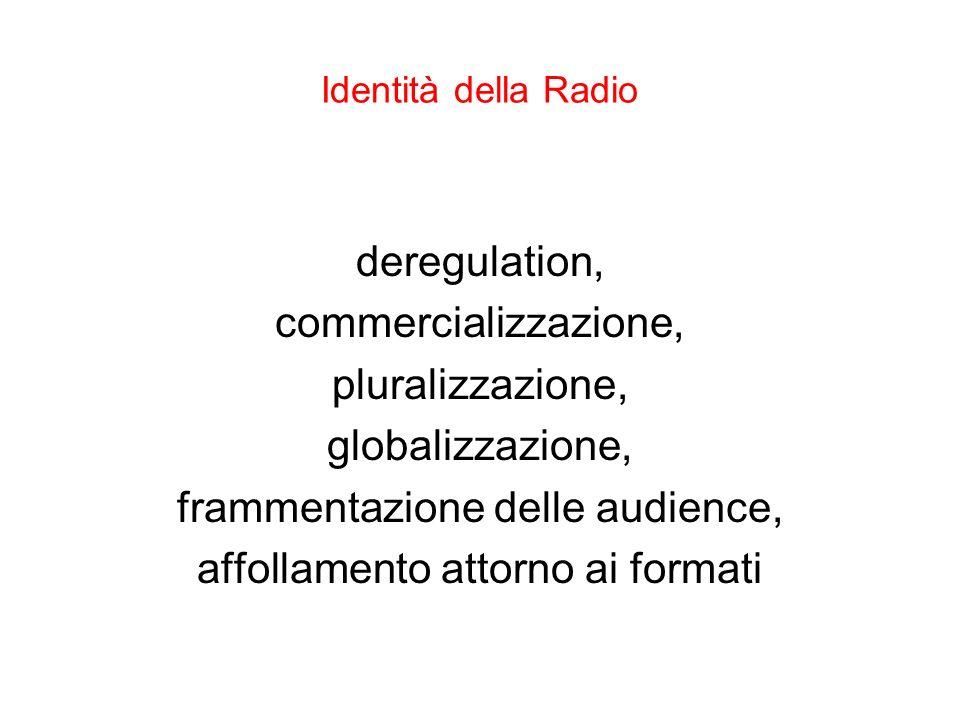 Identità della Radio deregulation, commercializzazione, pluralizzazione, globalizzazione, frammentazione delle audience, affollamento attorno ai forma
