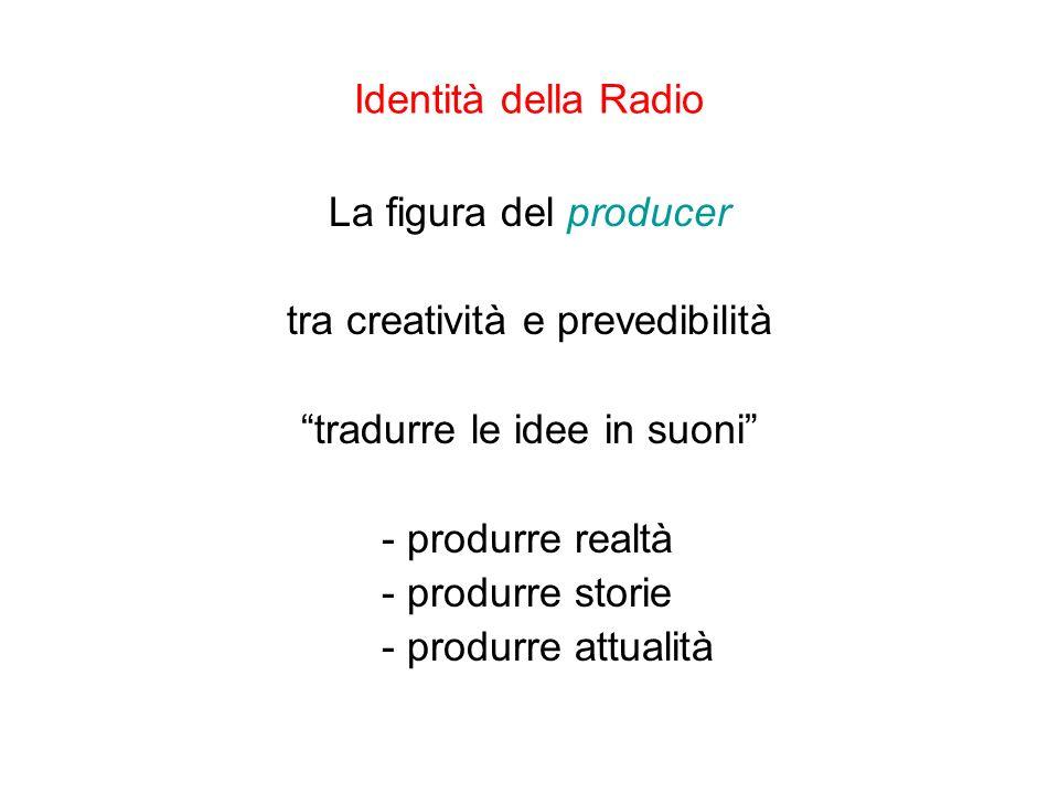Identità della Radio La figura del producer tra creatività e prevedibilità tradurre le idee in suoni - produrre realtà - produrre storie - produrre at