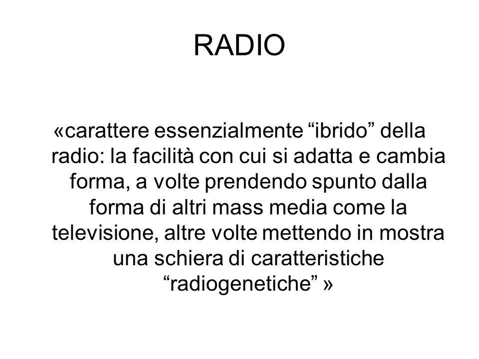 RADIO «carattere essenzialmente ibrido della radio: la facilità con cui si adatta e cambia forma, a volte prendendo spunto dalla forma di altri mass m