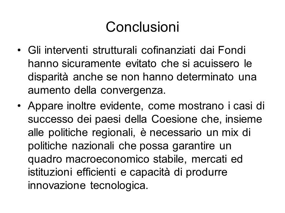 Conclusioni Gli interventi strutturali cofinanziati dai Fondi hanno sicuramente evitato che si acuissero le disparità anche se non hanno determinato una aumento della convergenza.