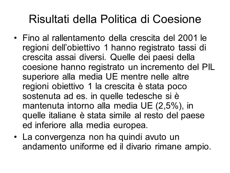 Risultati della Politica di Coesione Fino al rallentamento della crescita del 2001 le regioni dellobiettivo 1 hanno registrato tassi di crescita assai diversi.