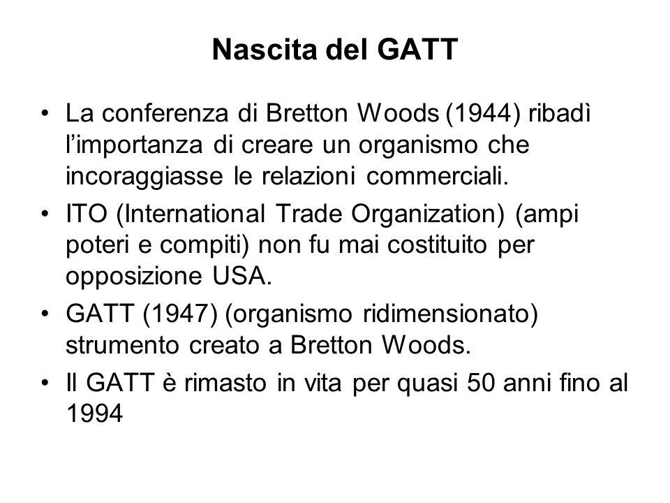 Nascita del GATT La conferenza di Bretton Woods (1944) ribadì limportanza di creare un organismo che incoraggiasse le relazioni commerciali.