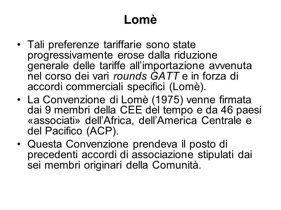 Lomè Tali preferenze tariffarie sono state progressivamente erose dalla riduzione generale delle tariffe allimportazione avvenuta nel corso dei vari rounds GATT e in forza di accordi commerciali specifici (Lomè).