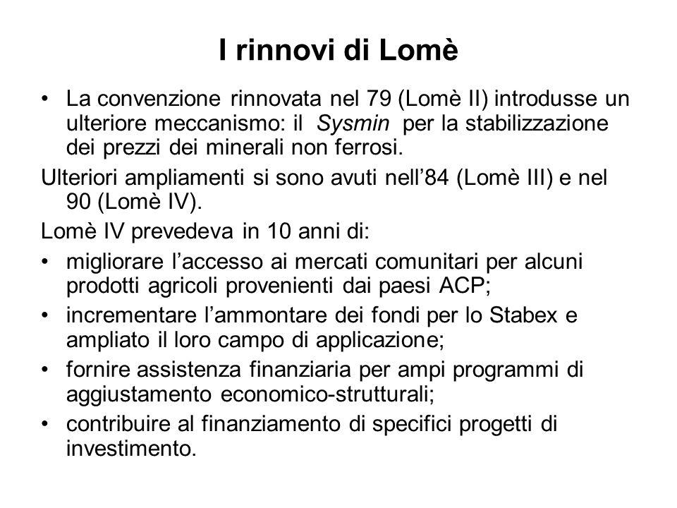 I rinnovi di Lomè La convenzione rinnovata nel 79 (Lomè II) introdusse un ulteriore meccanismo: il Sysmin per la stabilizzazione dei prezzi dei minerali non ferrosi.