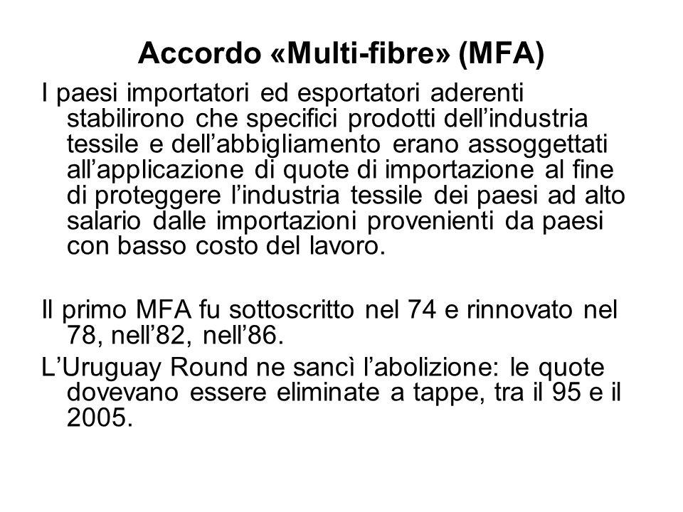 Accordo «Multi-fibre» (MFA) I paesi importatori ed esportatori aderenti stabilirono che specifici prodotti dellindustria tessile e dellabbigliamento e