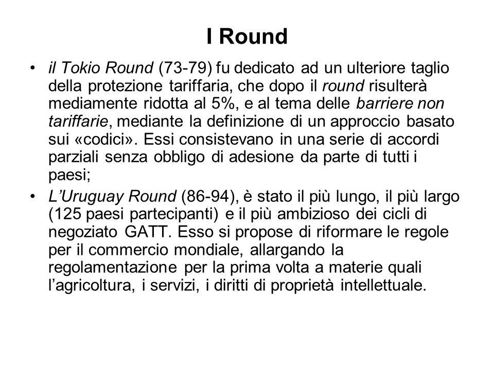 I Round il Tokio Round (73-79) fu dedicato ad un ulteriore taglio della protezione tariffaria, che dopo il round risulterà mediamente ridotta al 5%, e al tema delle barriere non tariffarie, mediante la definizione di un approccio basato sui «codici».
