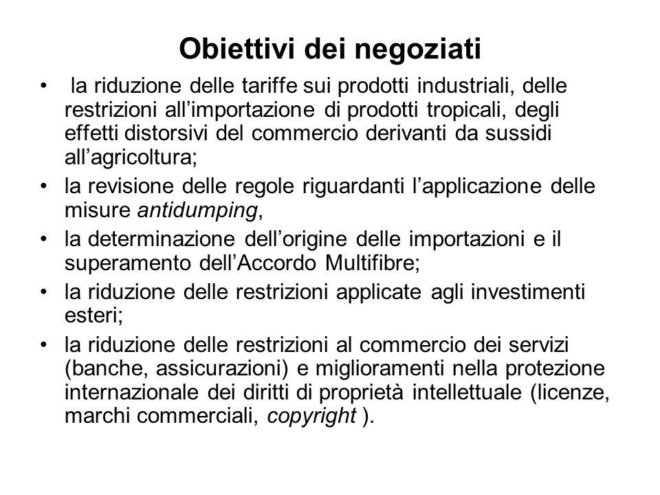 Obiettivi dei negoziati la riduzione delle tariffe sui prodotti industriali, delle restrizioni allimportazione di prodotti tropicali, degli effetti di