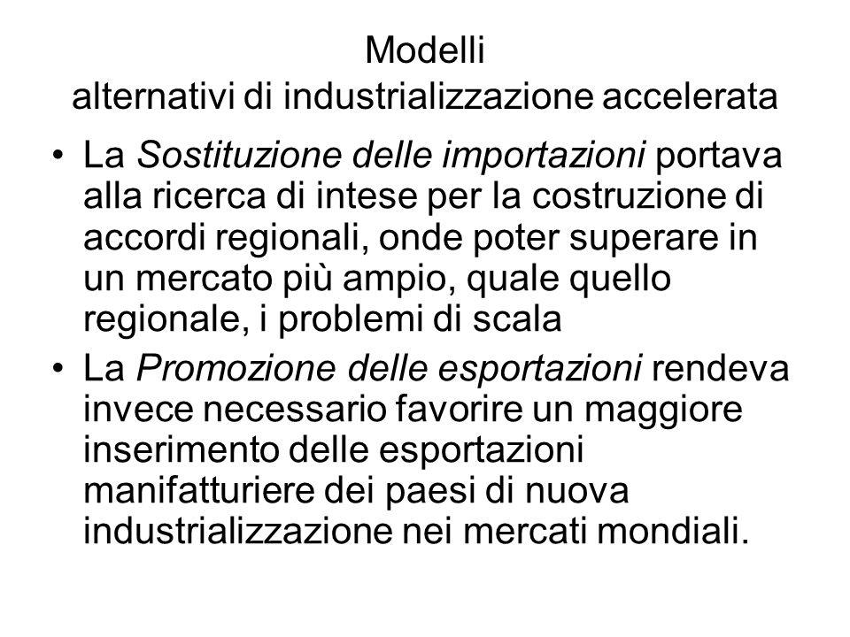 Modelli alternativi di industrializzazione accelerata La Sostituzione delle importazioni portava alla ricerca di intese per la costruzione di accordi