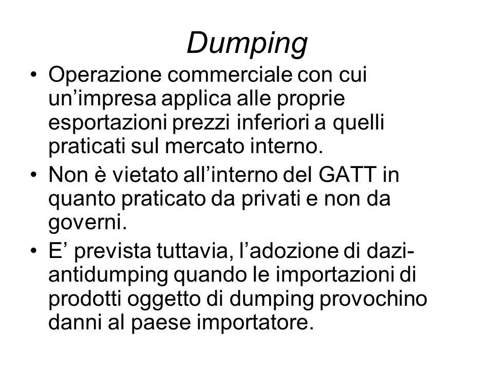 Dumping Operazione commerciale con cui unimpresa applica alle proprie esportazioni prezzi inferiori a quelli praticati sul mercato interno.